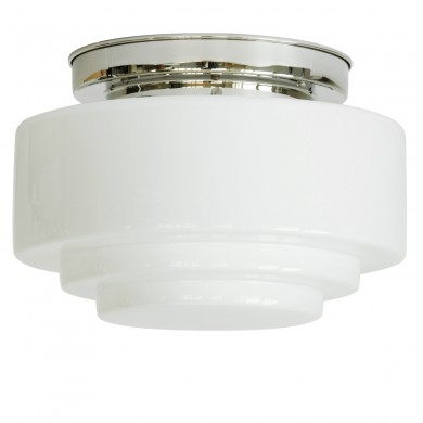 Large ceiling light with stepped opal cylinder glass von Collectie Art Déco, Image 1: Art Déco ceiling lamp, pictured with shiny nickel-plated ceiling part, model 3, Ø 30 cm
