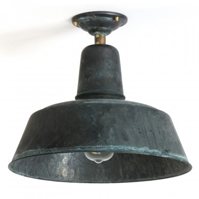 BERLIN Patinated copper ceiling light Ø 25-60 cm von Bolich, Image 1: Ceiling lamp BERLIN made of copper with patina, here with 350 mm diameter and Edison bulb