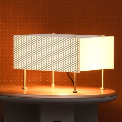 Mid Century table light G61 by P. Guariche, perforated metal sheet von Pierre Guariche, Image 1: Box shaped Mid Century table light G61 by Pierre Guariche (1959)