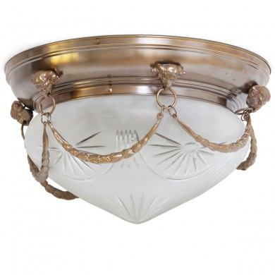 "Neo-classical ceiling light ERLAU von Art Nouveau Lamps, Image 1: Classicistic historical ceiling lamp, small model in antique patina (""old brass"")"