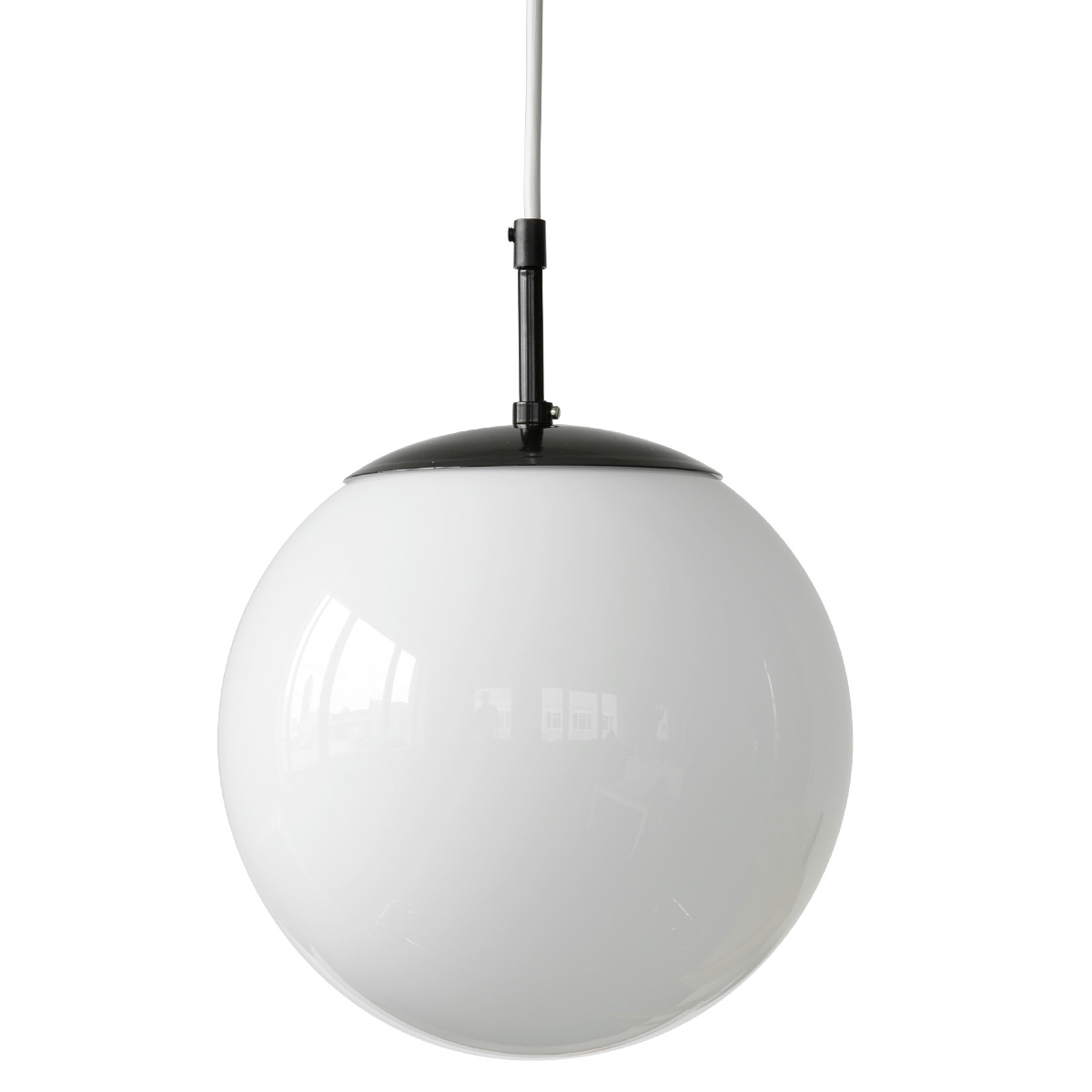 8cefea095a2 Image 1: Classic: White glass globe lamp wit 25 cm glass ball, jet black  mounting and white cable