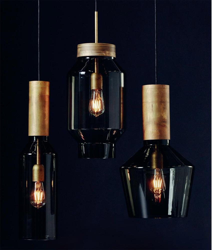 Design Hangelampe Mit Rauchglas Und Messing Natur Pheno Casa Lumi