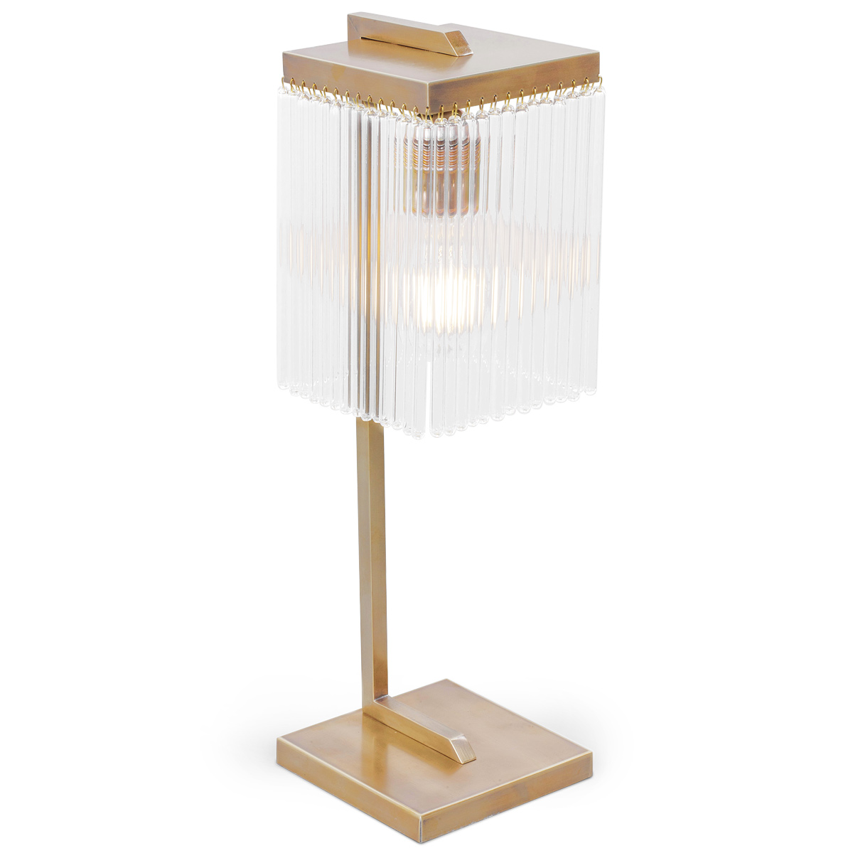 Art Deco Table Light With Crystal Rod Curtain Monaco Casa Lumi