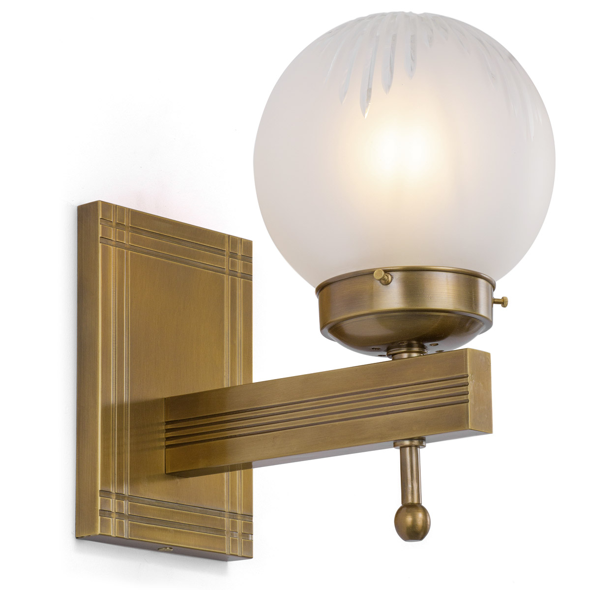 Image 1 art déco wall lamp with ball glass new york ii antique patina old brass