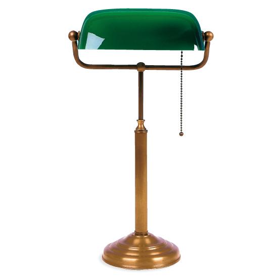 klassische gr ne banker s lamp art d co messing ktl323. Black Bedroom Furniture Sets. Home Design Ideas