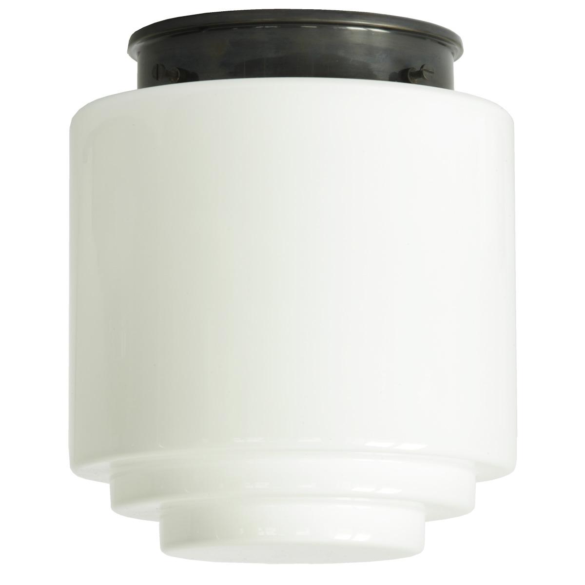 bauhaus deckenleuchte mit gestuftem opal zylinderglas 16 22 cm casa lumi. Black Bedroom Furniture Sets. Home Design Ideas