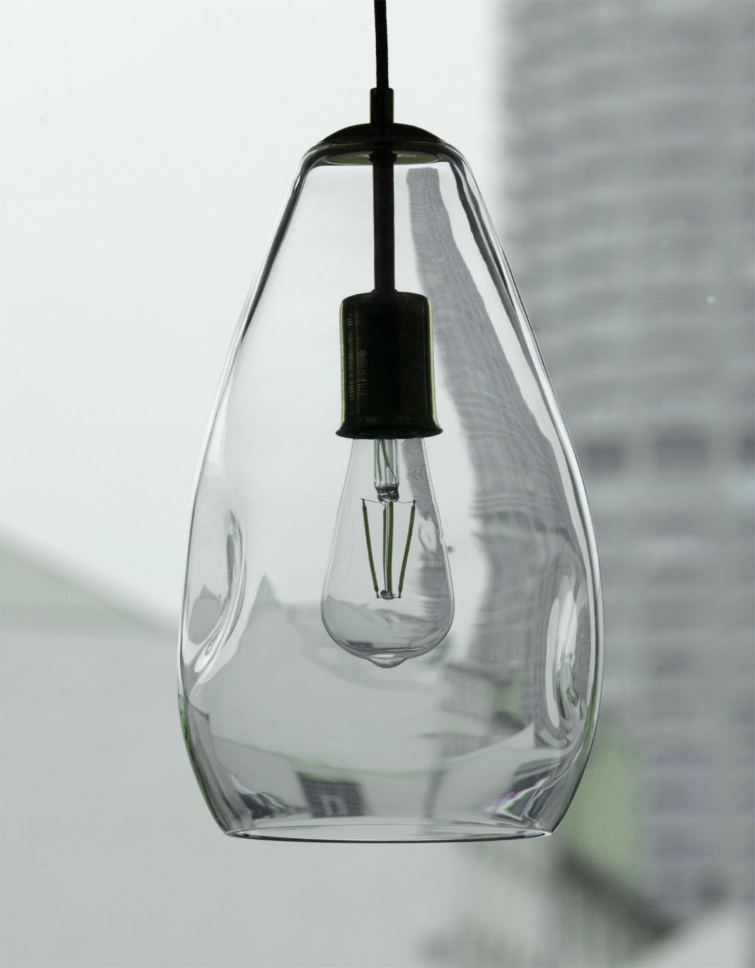 Irregular shaped glass drop light in different colors   Casa Lumi