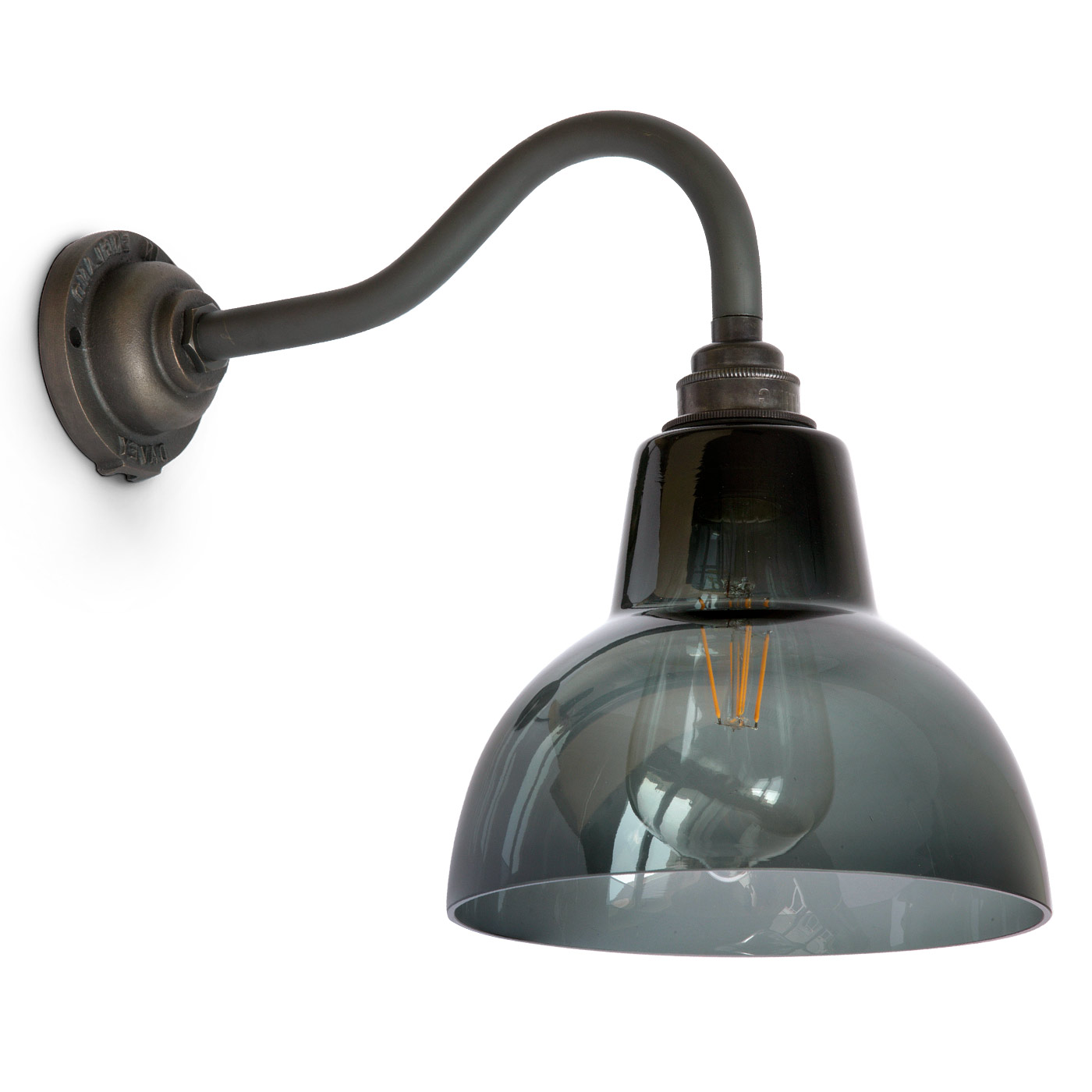 Image 1 york smoked glass wall light with cast industrial style wall arm combined with decorative edison lamp