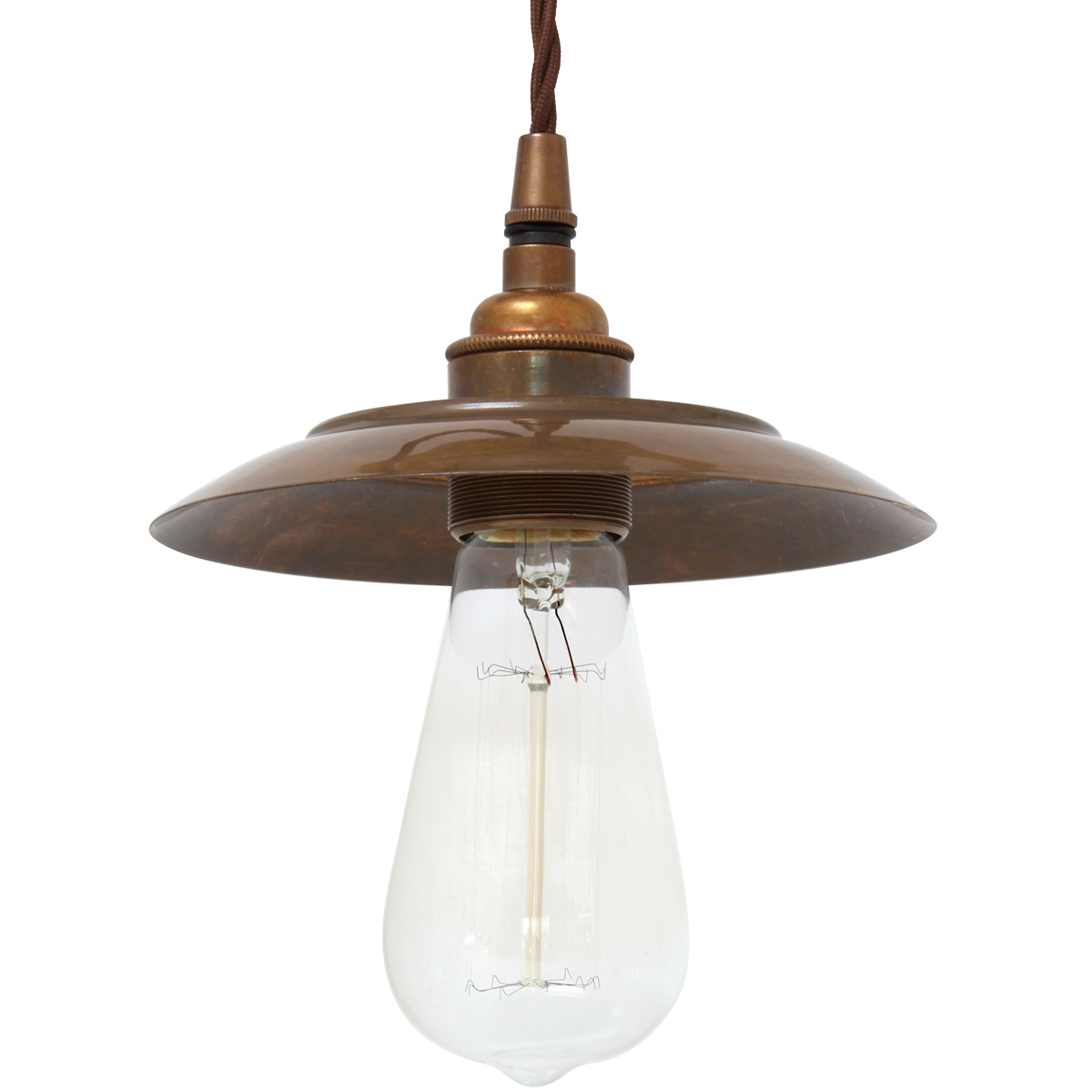 Image 1 simply charming simple light fixture with small shade shown here in antique brass patinated with edison bulb