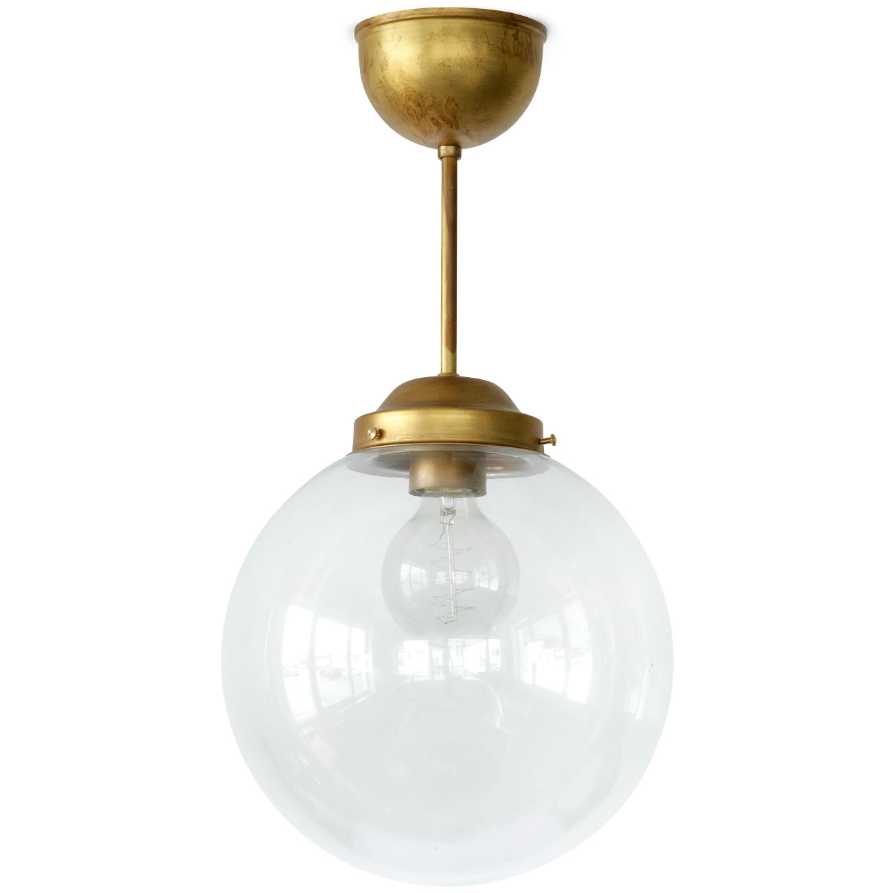brass globe pendant light. Swedish Glass Globe Ceiling Light On Short Brass Rod Von KH Verkstad, Image 1: Pendant