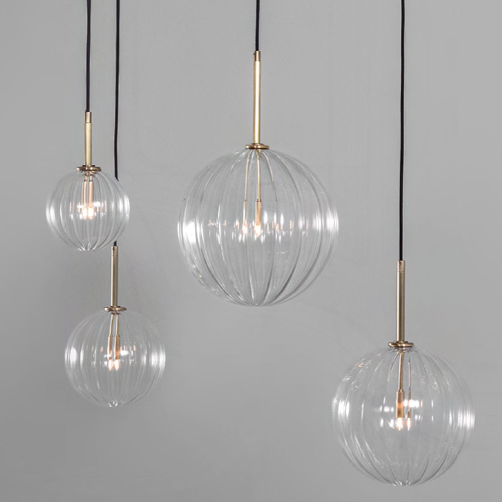 Dries Pendant Light With Hand Blown Rippled Glass Globes