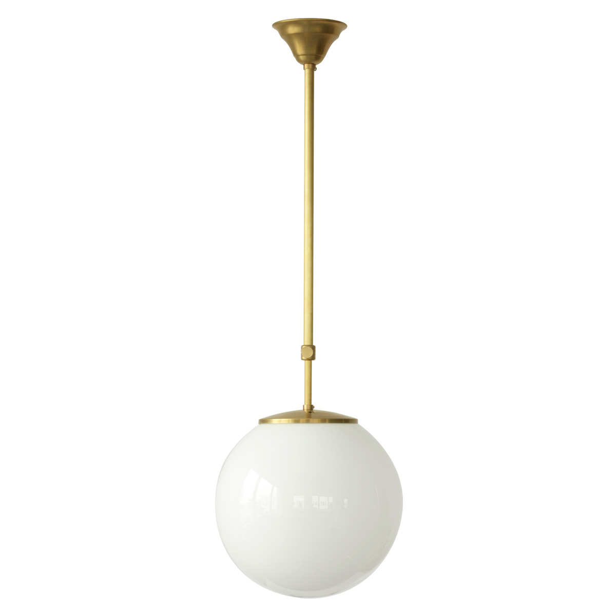 Glass globe pendant light on pendulum tube casa lumi for Pendulum light globes