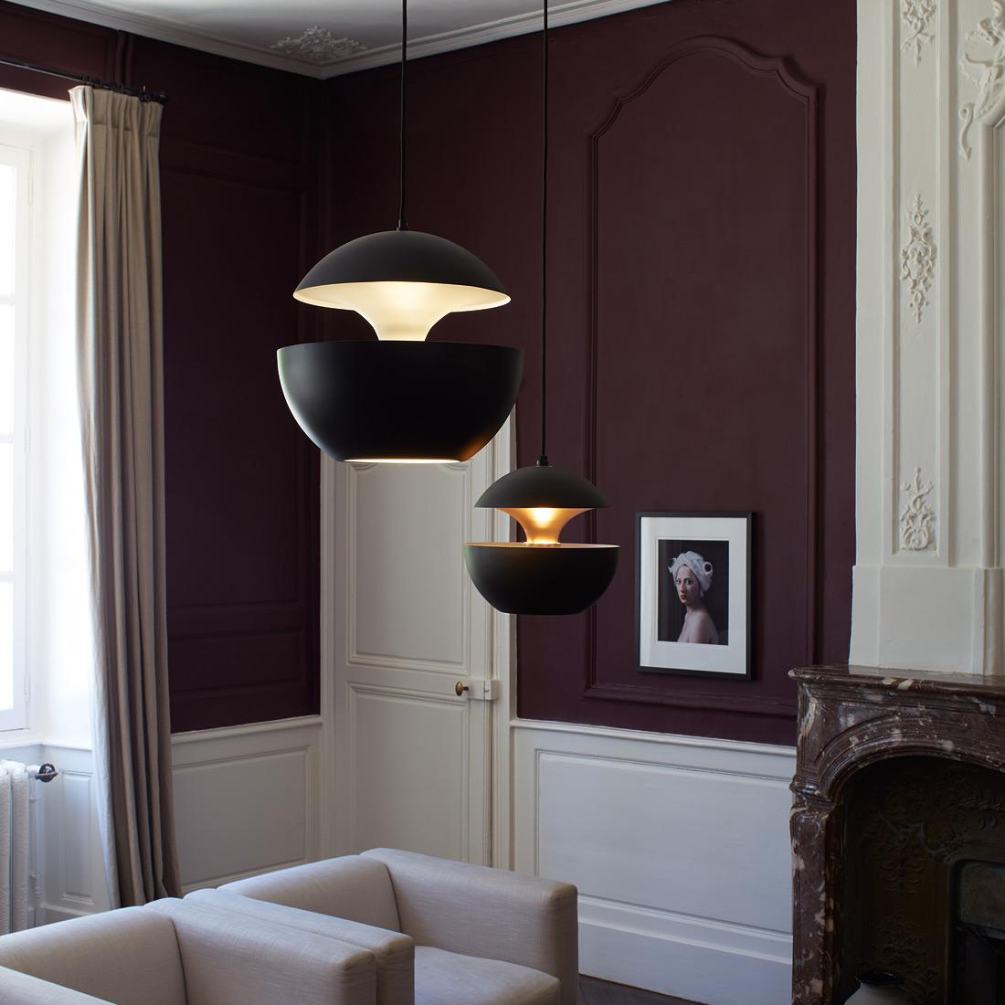 pendelleuchte im sixties design here comes the sun schwarz casa lumi. Black Bedroom Furniture Sets. Home Design Ideas