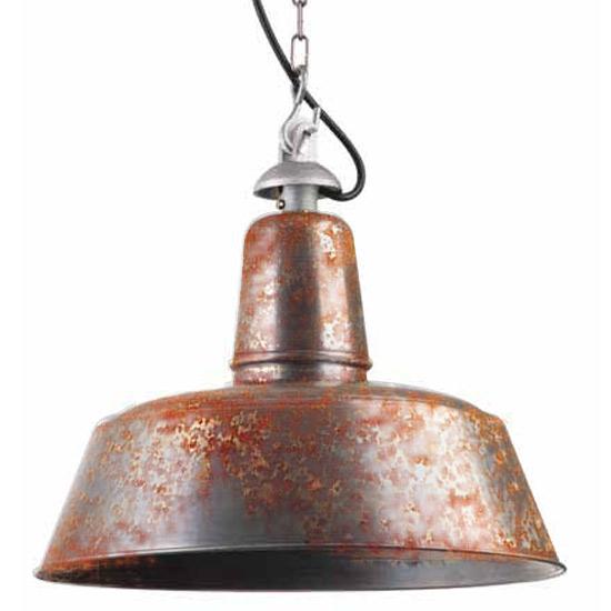 Shabby Chic-Fabriklampe mit echter Rost-Patina - Casa Lumi