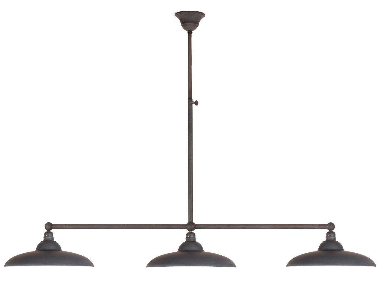 rustikale stabpendel balkenlampe mit drei flachen schirmen von breda. Black Bedroom Furniture Sets. Home Design Ideas