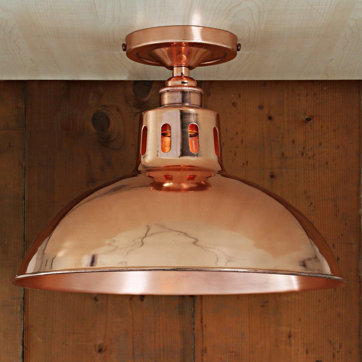 Kupfer Deckenlampe industrie-deckenleuchte aus kupfer Ø 30 cm - casa lumi