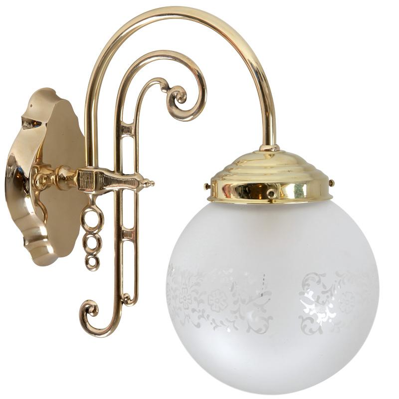 jugendstil messing wandlampe mit glaskugel casa lumi. Black Bedroom Furniture Sets. Home Design Ideas
