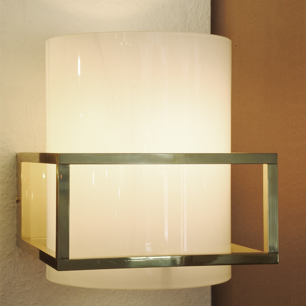 Exclusive Brass Frame Wall Light With Opal Glass Cylinder