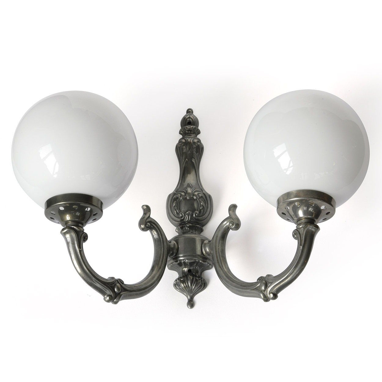 Image 1 classic wall lamp made of brass with two globes shown here in antique silver patinated finish
