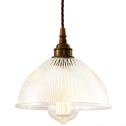 Small Hanging Lamp With Holophane Glass Shade Eg For