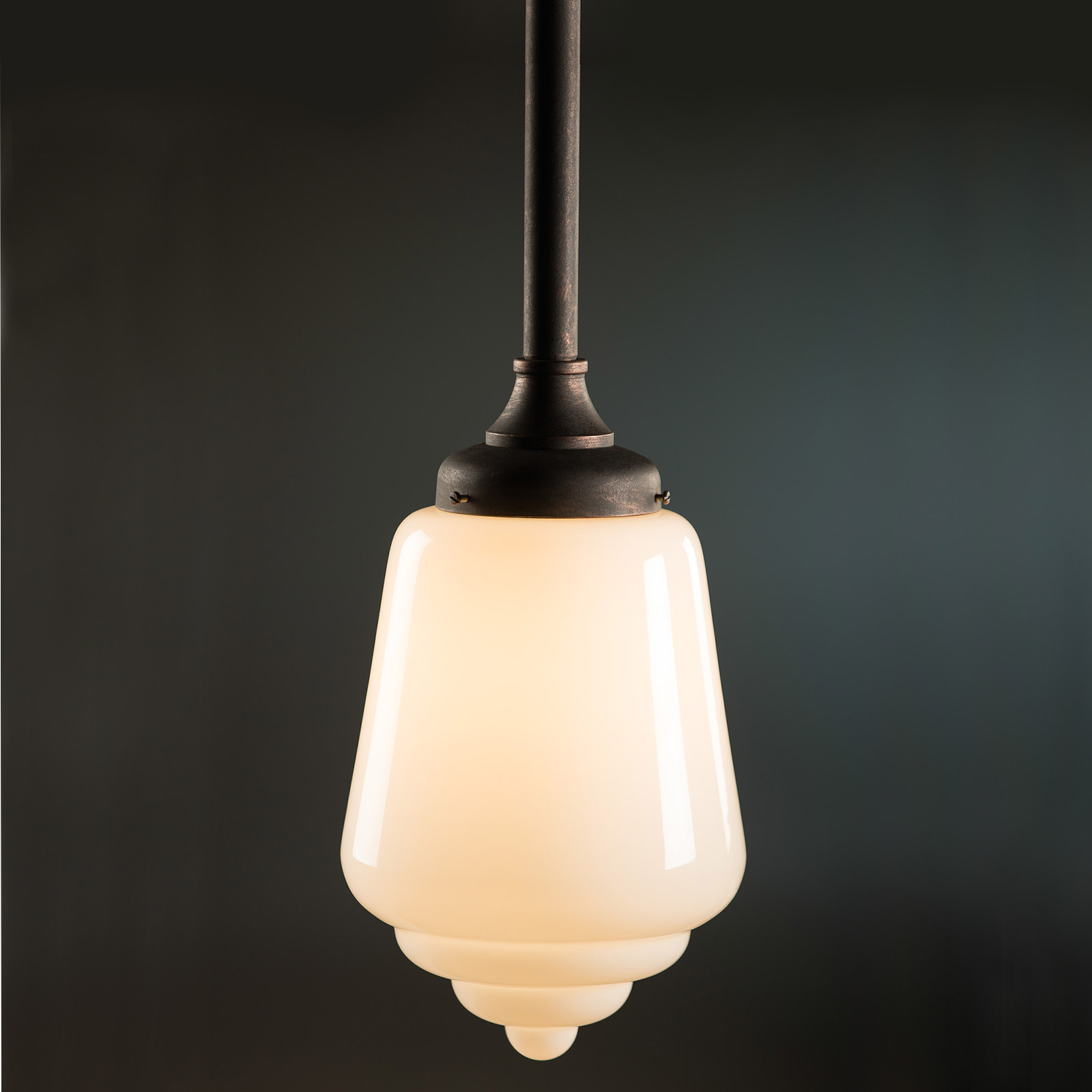wrought iron pendulum lamp with art deco glass casa lumi. Black Bedroom Furniture Sets. Home Design Ideas
