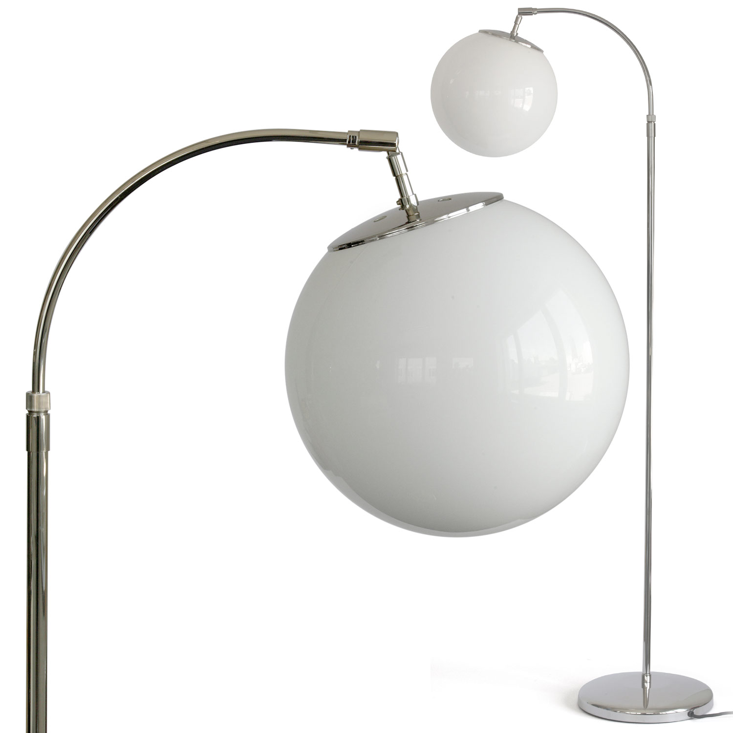 Timeless Floor Lamp With Opal Glass Ball On Curved Arm Casa Lumi