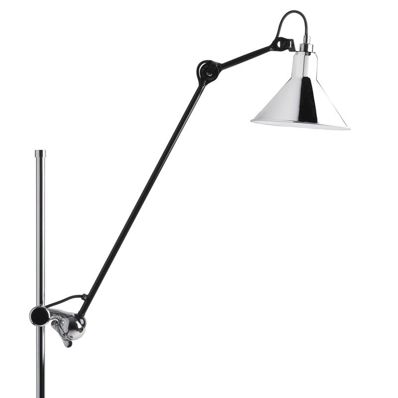 Stehlampe gezeichnet  Verchromte Stehleuchte N° 215 mit Gelenkarm - Casa Lumi