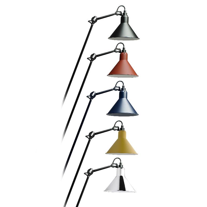 Stehlampe gezeichnet  Stehleuchte N° 215 mit Gelenkarm, schwarz oder Chrom - Casa Lumi