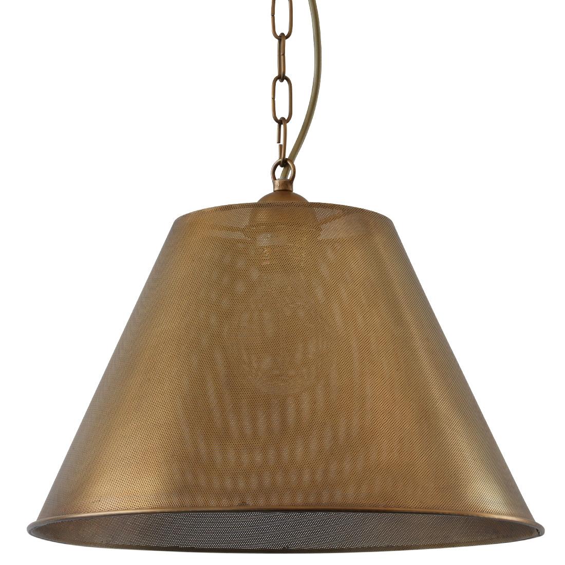 pendelleuchte mit lochblech schirm aus messing la conique. Black Bedroom Furniture Sets. Home Design Ideas