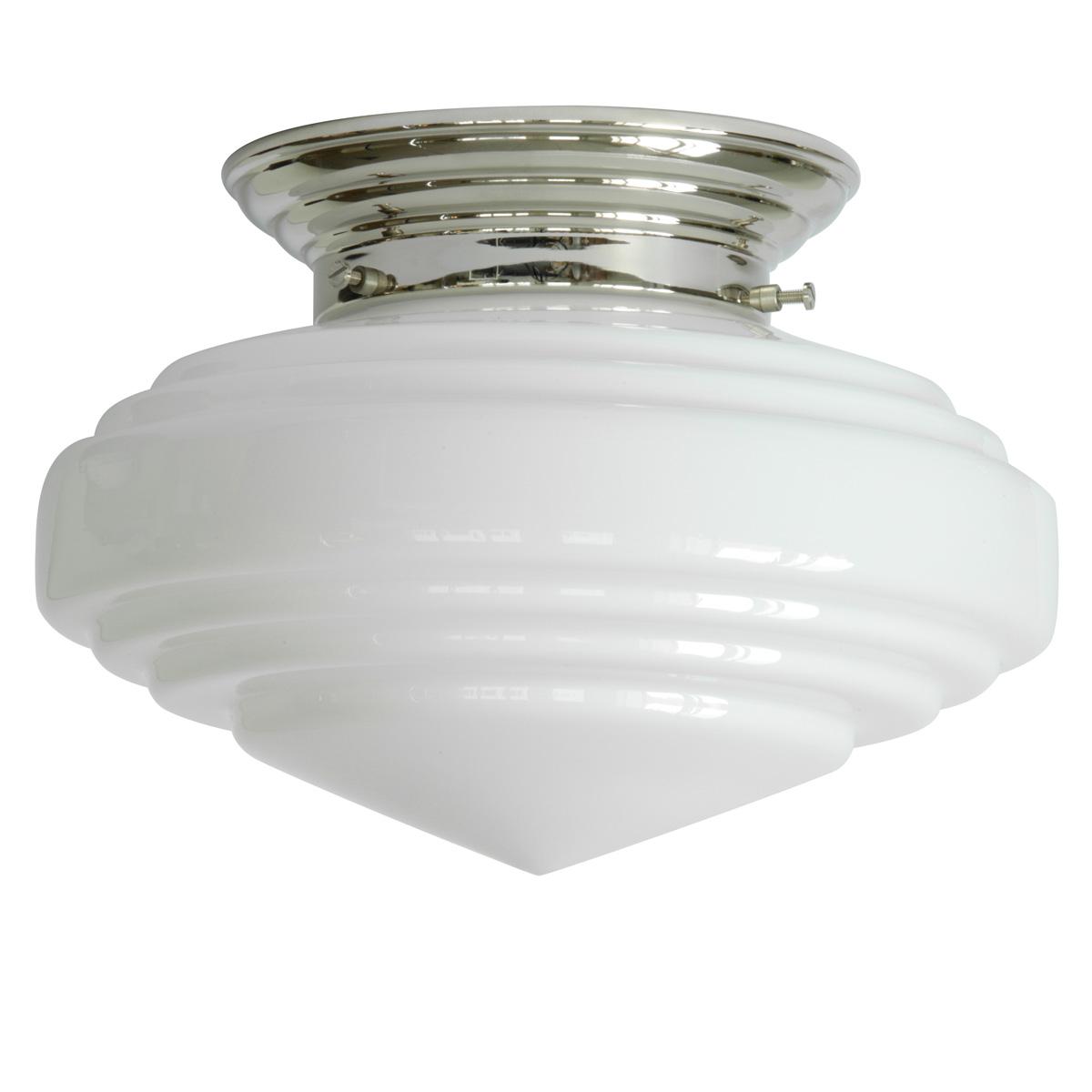 Ansprechend Messing Deckenlampe Referenz Von Bild 1: Art Déco-deckenleuchte Mit Opalglas, Glanzvernickelt