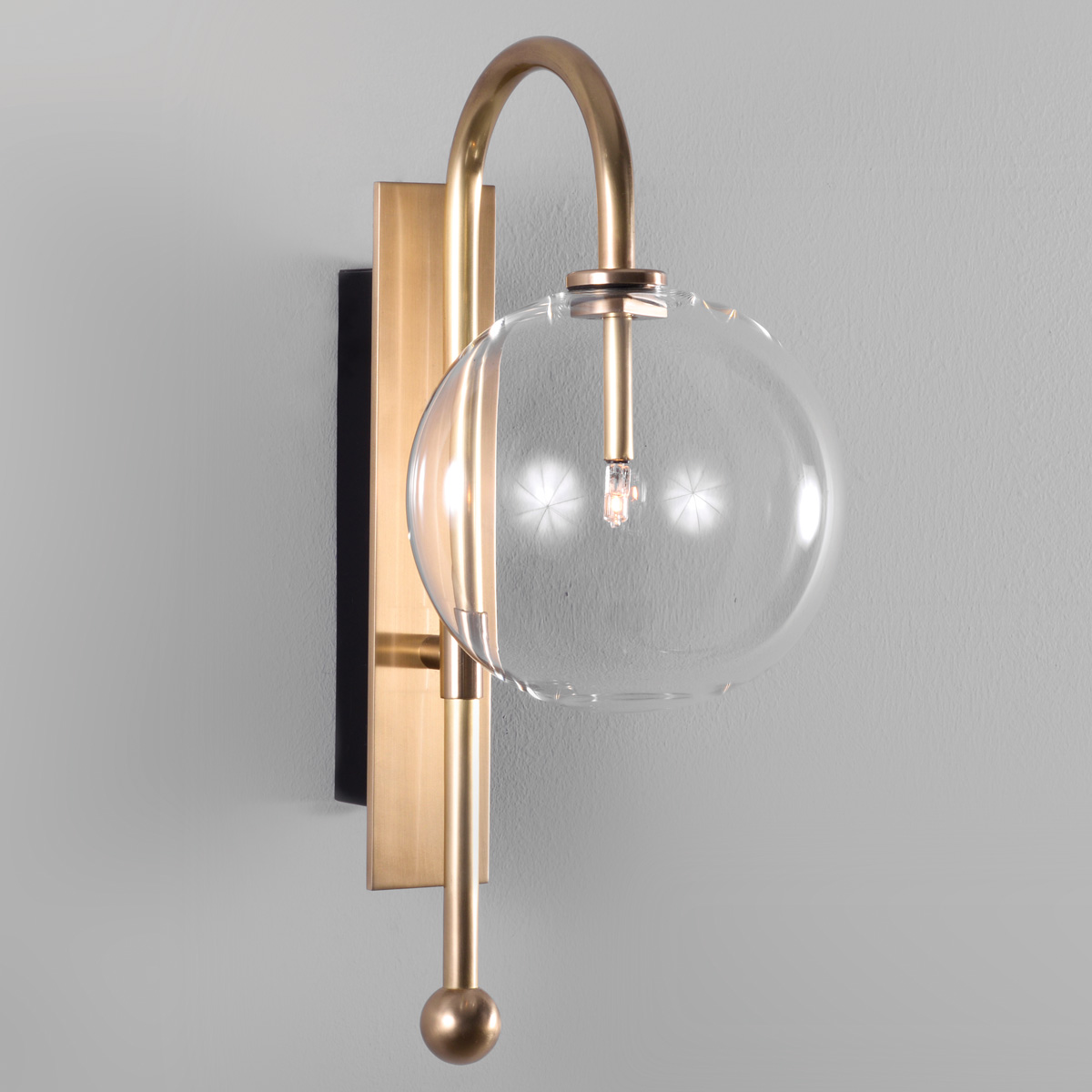 Casa Moderne And Design.Modern Borosilicate Clear Glass Ball Wall Lamp Naples Casa Lumi