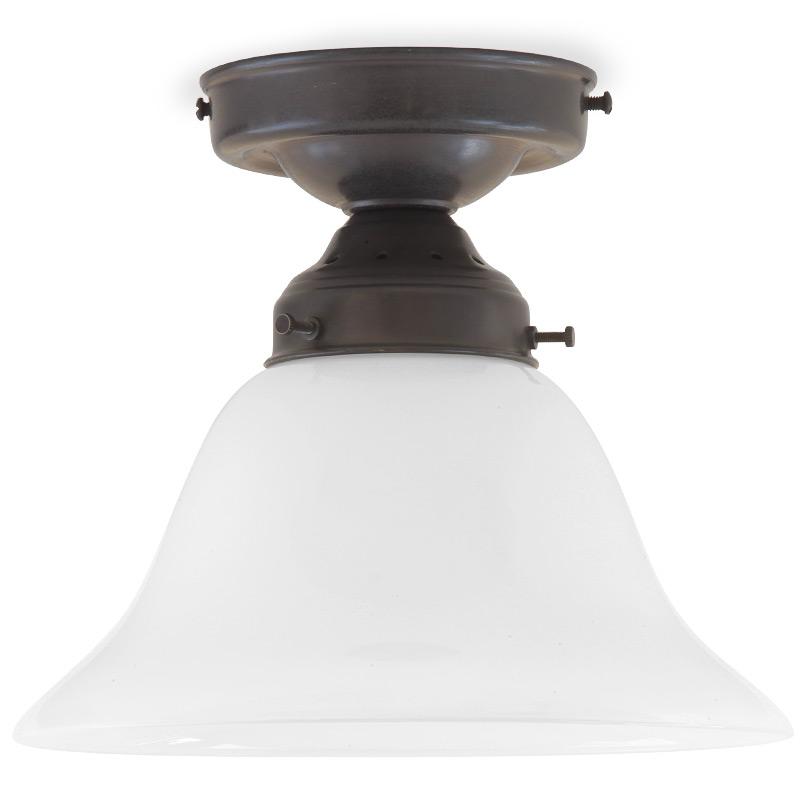 Nostalgische Deckenlampe Messing mit Glockenschirm - Casa Lumi