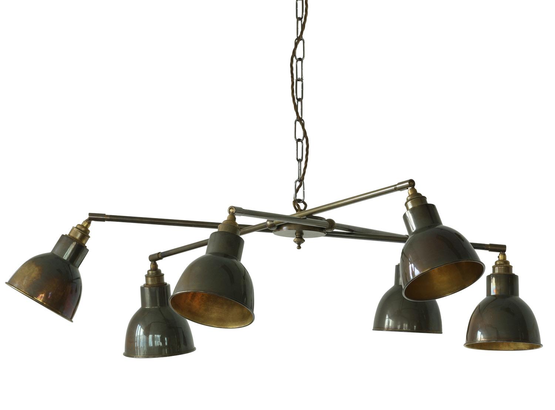 uriger h ngeleuchter mit sechs schirmen im industriestil. Black Bedroom Furniture Sets. Home Design Ideas