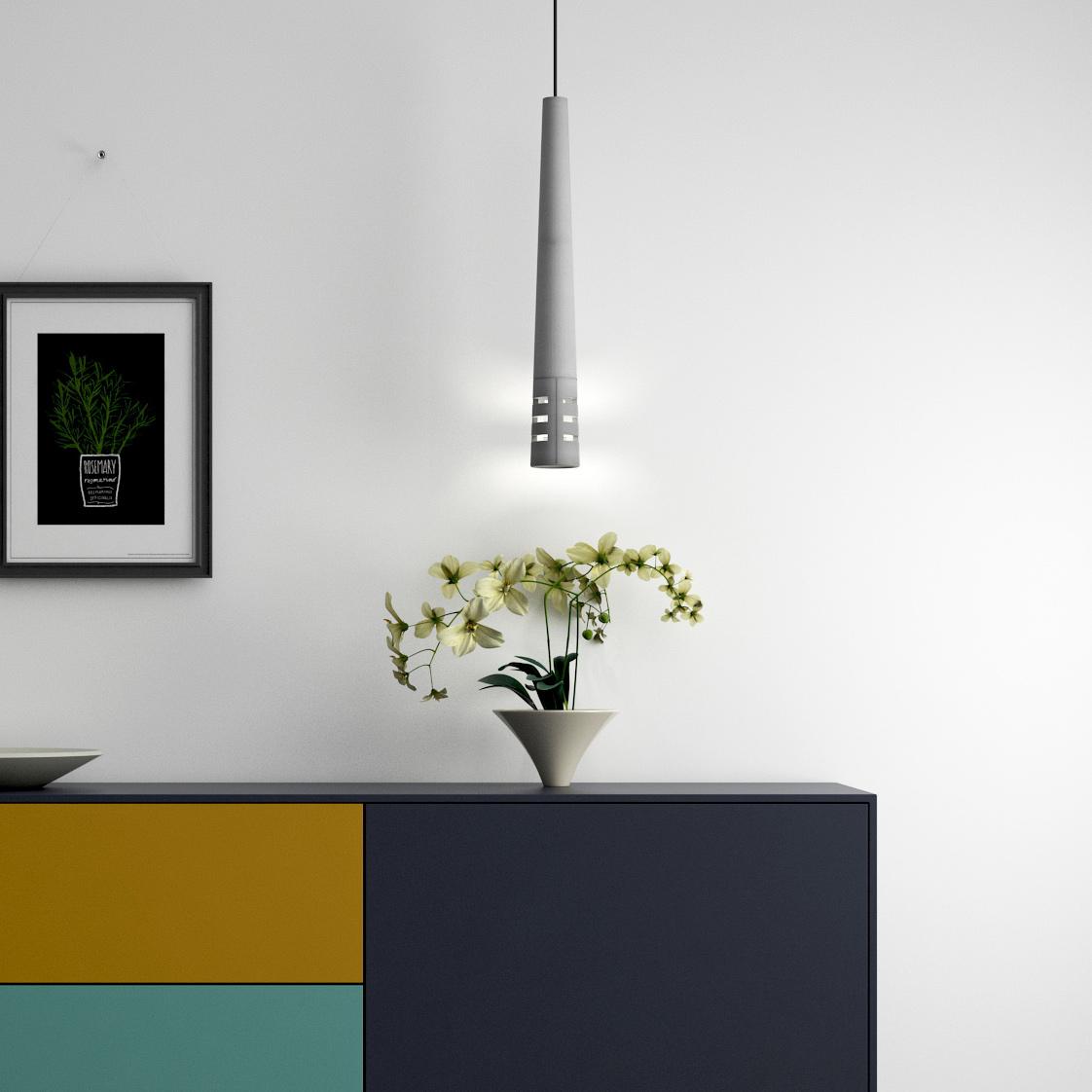 Schmale, Lange Beton Pendelleuchten (60 Cm) In Zwei Varianten Von Design