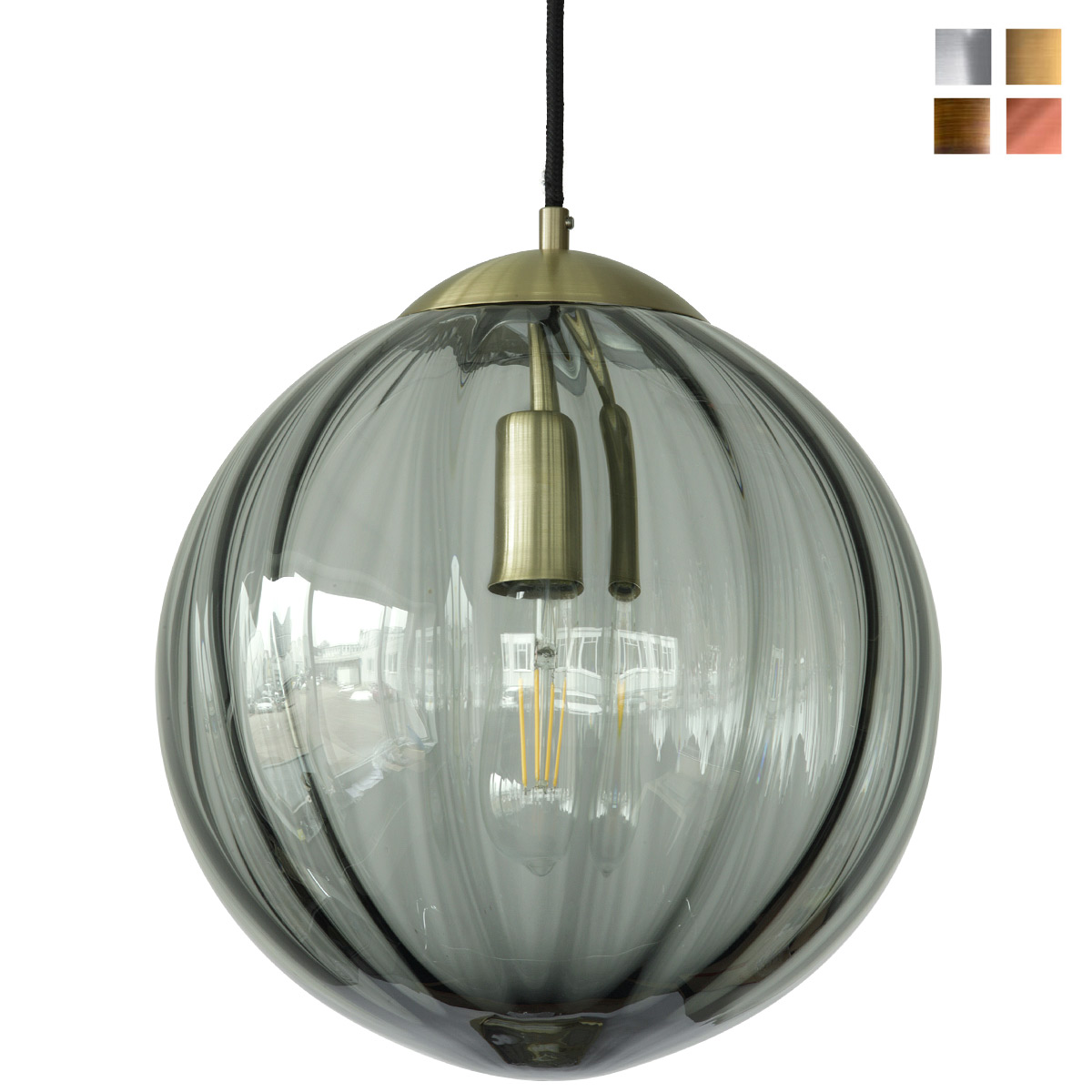 43b350d3e453 Image 1: Glass ball pendant lamp with grey smoked glass shade (Ø 30 cm),  shown here in brass