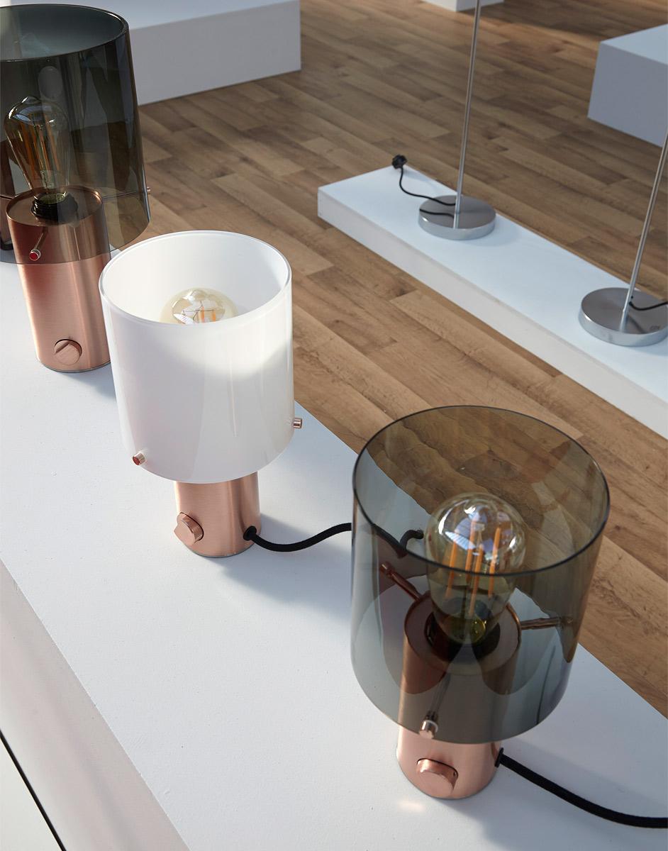 runde tischleuchte walter mit messing oder kupfersockel und dimmer casa lumi. Black Bedroom Furniture Sets. Home Design Ideas