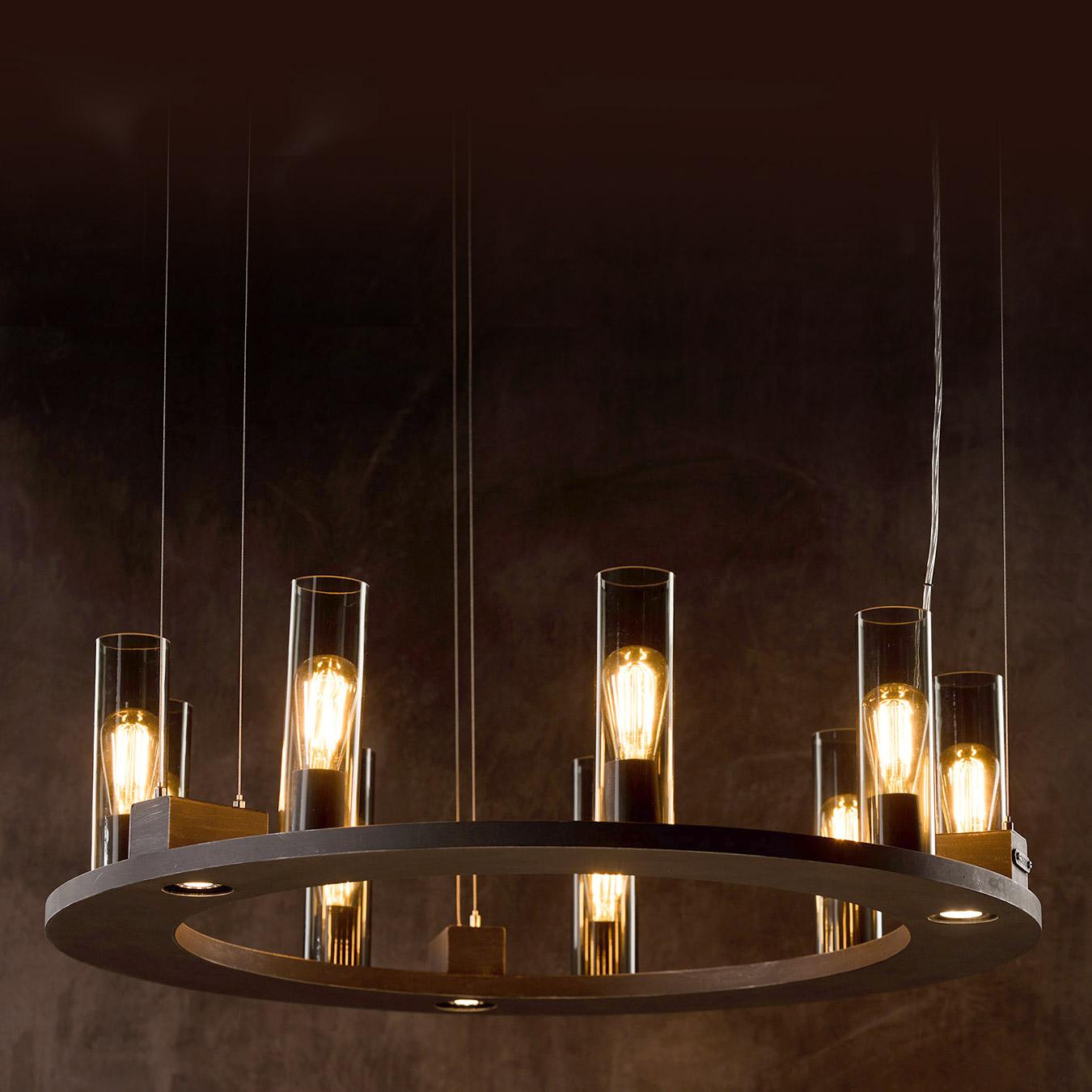 Blickfang: Ring-Hängeleuchter mit Rauchglas-Zylindern - Casa Lumi