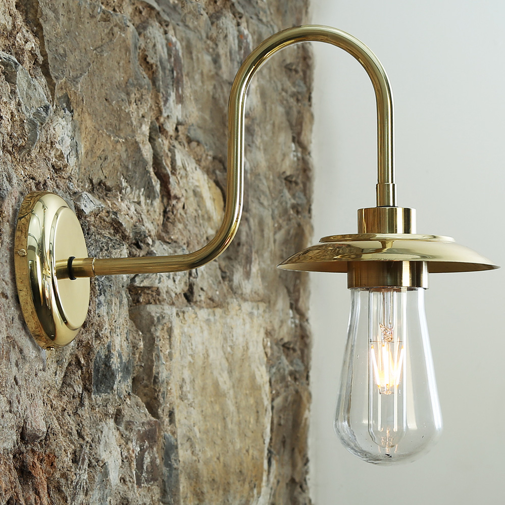 schwanenhals wandlampe mit kleinem schirm ip54 casa lumi. Black Bedroom Furniture Sets. Home Design Ideas