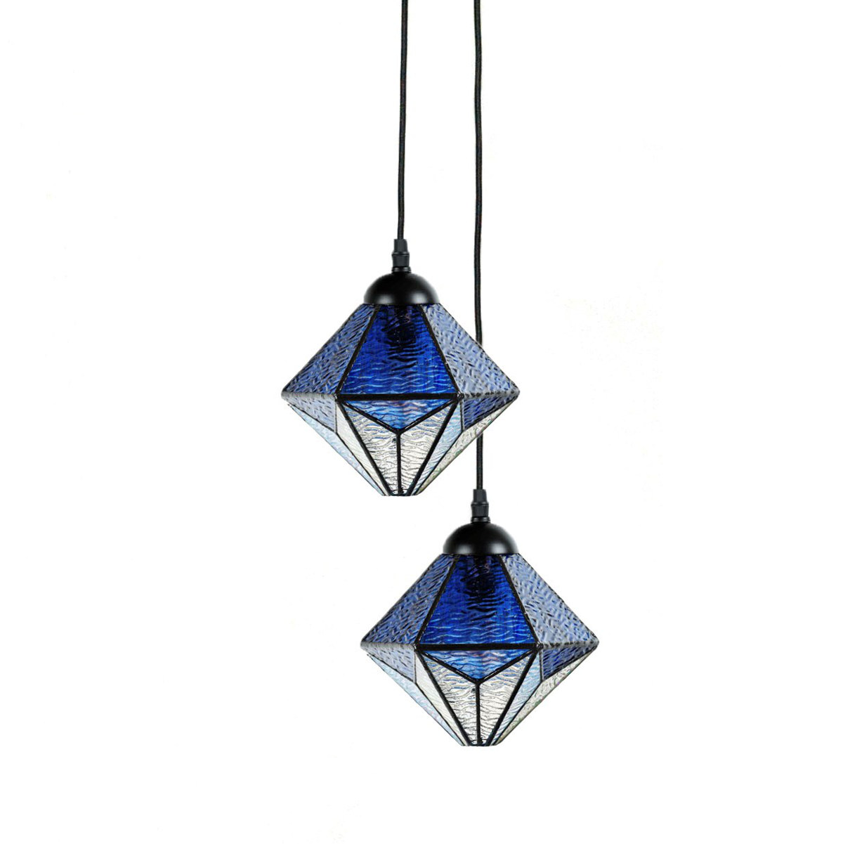 Cluster Of Tiffany Pendant Lights Made Of Blue Water Glass Casa Lumi