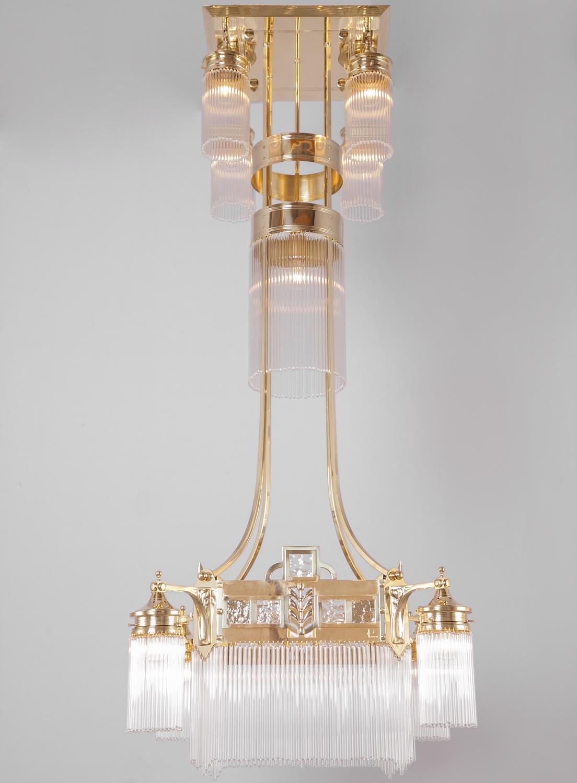 Bild 1: Der Jugendstil Kronleuchter Mit Kristallglas Stäbchen In Messing  Poliert