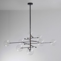 Adjustable eight-armed brass ball chandelier