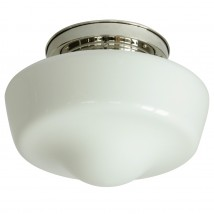 Art Déco schoolhouse ceiling light with domed opal glass