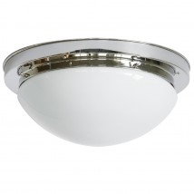 Circular brass Art Déco ceiling light with opal glass Ø 26/37 cm