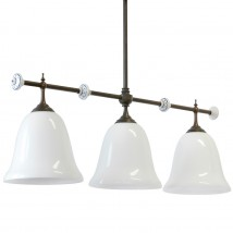 Country table lighting: Rod light with three opal white glass shades CARACOI