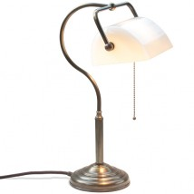 Brass banker's lamp with swan neck