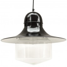 SIEGEN Industrial pendant lamp with wide glass cylinder
