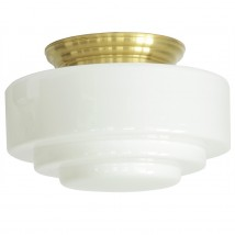 Wide ceiling light with stepped opal cylinder glass