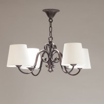 Exclusive bronze cast pendent lamp PALERME with fabric shades