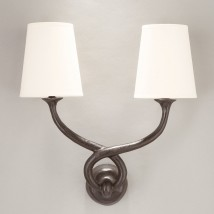 Bronze cast wall light ALADIN with fabric shades