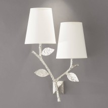 Two-armed bronze cast wall light FLORA DOUBLE with fabric shades